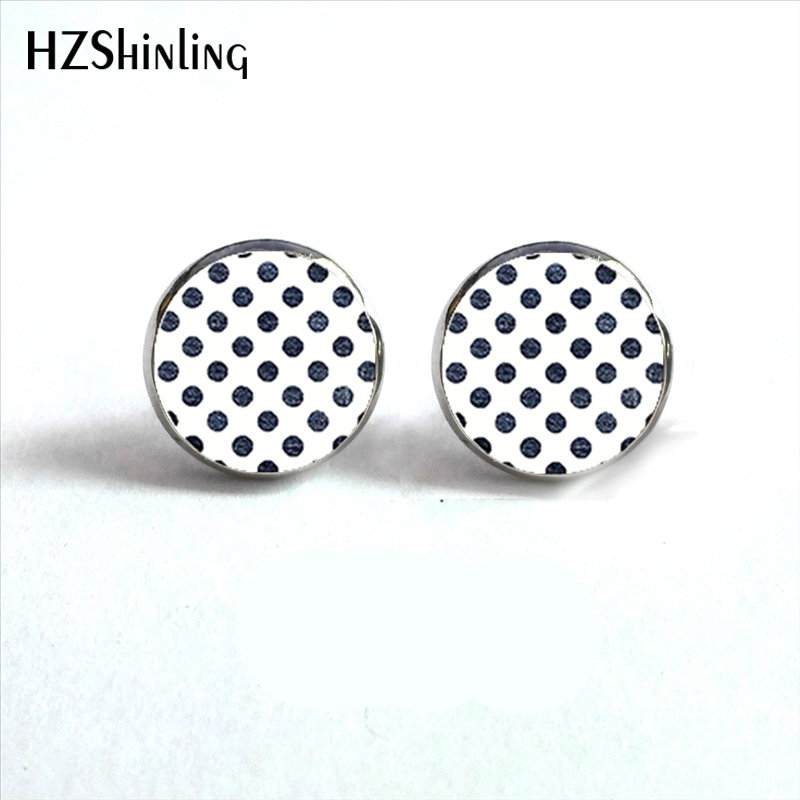Nes 0048 Polka Dot Earrings Colorful Dots Stud Earring Gl Dome For Women Hz4 In From Jewelry Accessories On