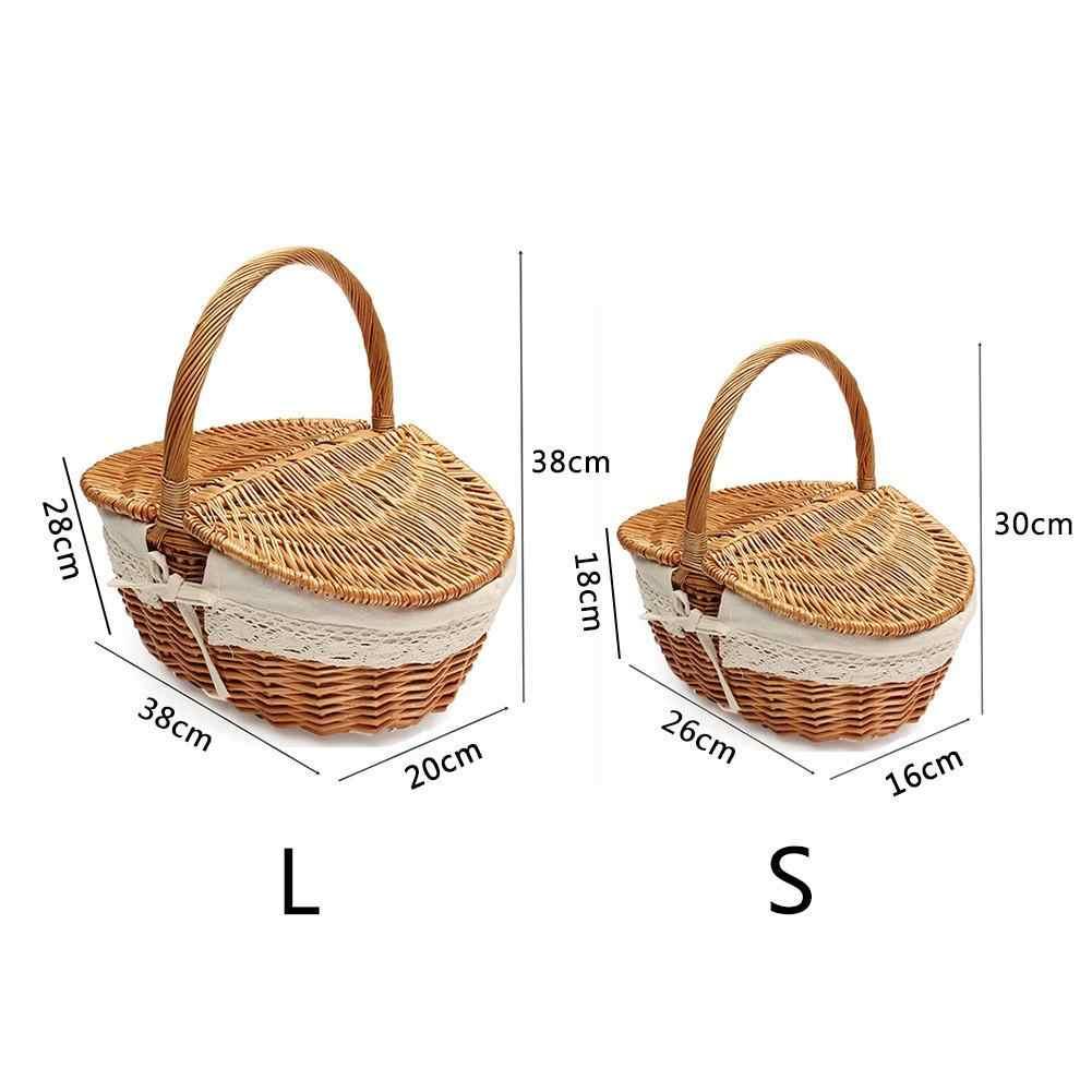 11698eccd7820 ... Ручная работа плетеная корзина плетеная походная Корзина для пикника  корзина для покупок и ручка деревянная цветная ...