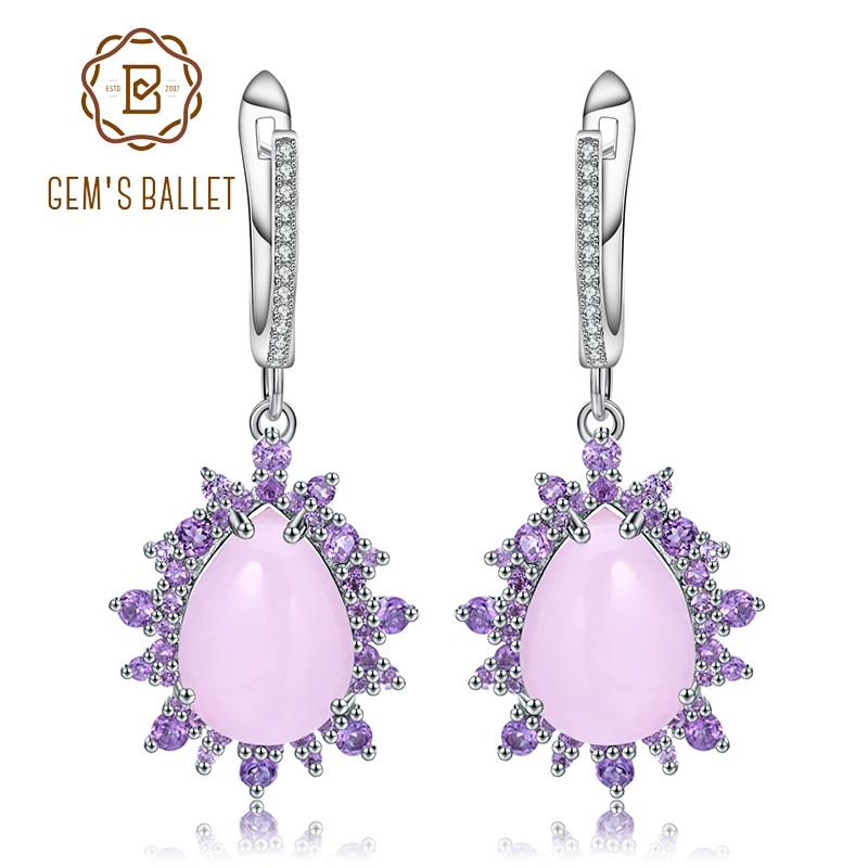 GEM S BALLET Natural Pink Calcedony Gemstone Earrings 925 Sterling Silver Vintage Drop Earrings for Women