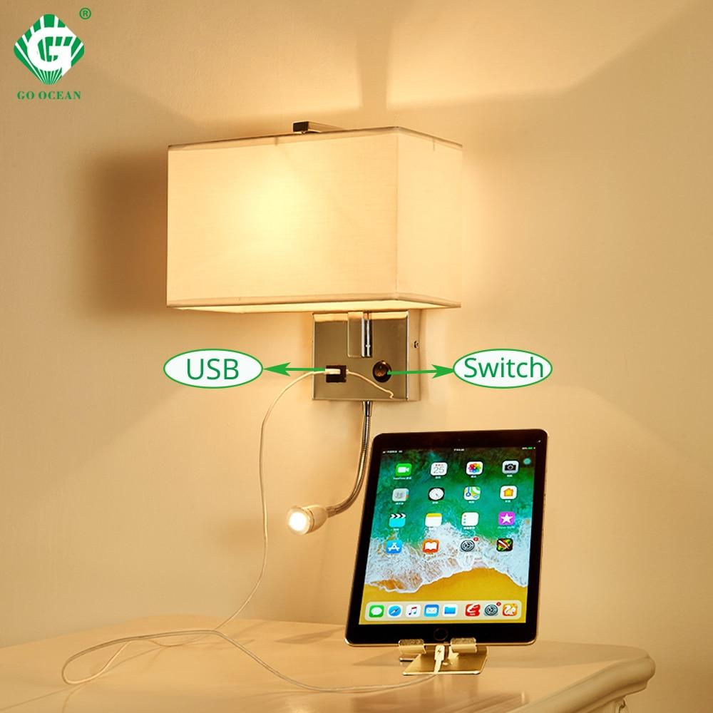 Светодио дный настенный светильник USB переключатель бра Спальня Освещение в помещении светильники на настенный E27 лампы отель Cube современн...