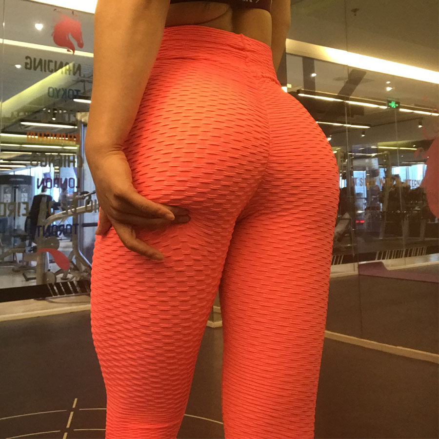 Leggings Women Fitness Jacquard Solid High Waist Breathable Stretch Slim Pants Push Up Fold Elasticity Leggings Winter Fashion