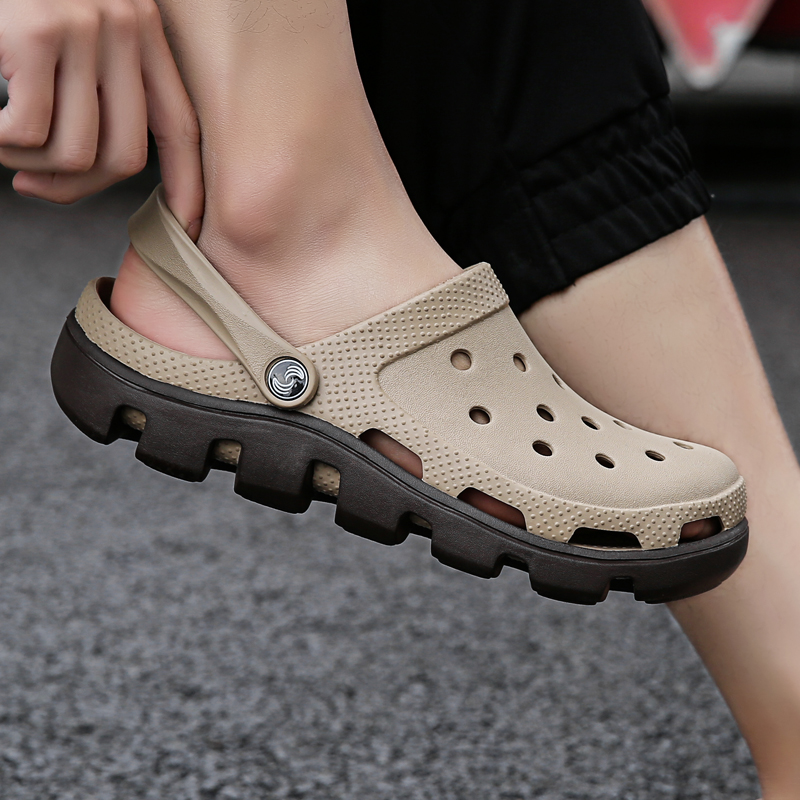 QUAOAR Brand Big Size 35-47 Men Black Garden Casual Aqua Clogs Hot Male Band Sandals Summer Slides Beach Swimming Shoes