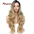 Black Blonde Ombre Color Long Wavy Wigs with Natural Hairline Synthetic Lace Front Wigs for Women Big Wave Synthetic Lace Wig