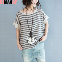 DIMANAF Women T Shirt Plus Size Summer Style Cat Striped Print Linen Female Fashion Casual New