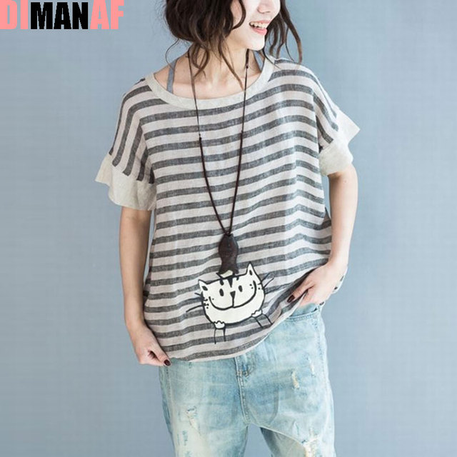 DIMANAF Women T-Shirt Summer Style Cat Striped Print Linen Female Loose New Fashion Casual New O-Neck Loose Korea 2017 Tops&Tees