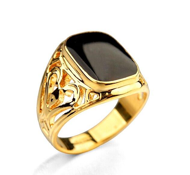 New Arrival Gold Color Man s Engagement Ring Carved Black Glaze