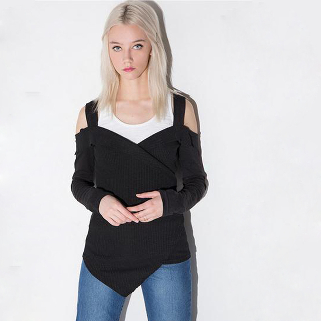 8ff8cb9258bc08 Off shoulder tops cold shoulder cut out tops tee shirts black long sleeve t  shirt cross front t-shirt WH267