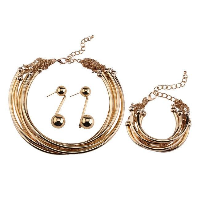 e2db86bd5049 € 10.79  UALGL Fashion Color Oro Aretes Collar de Conjuntos de Joyas de Oro  Indio de La Vendimia Para Las Mujeres Conjuntos De Collar de la Vendimia ...