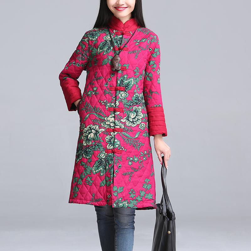 Women Ethnic Style Flower Jacket Coat Stand Collar Button Clothing Plus Size 4XL Retro Loose Winter