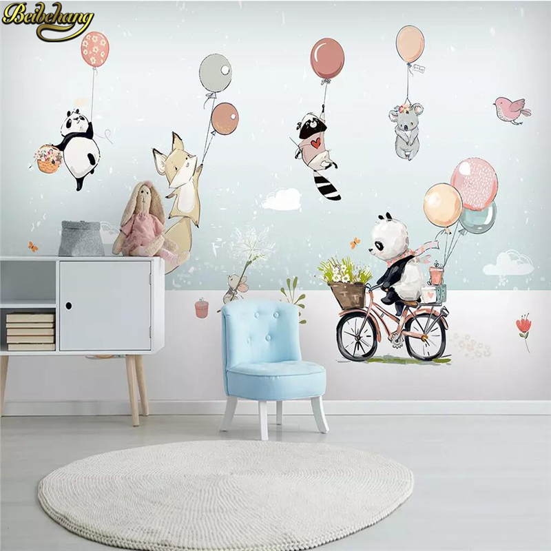 Beibehang Custom Cute Cartoon Animal Hot Air Balloon Wallpaper For Children Room Background Painting Wall Paper For Wall Bedroom