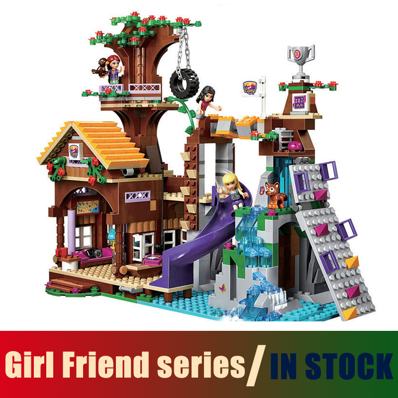 Compatible with Lego Friends BELA 10497 Building Bricks Blocks Adventure Camp Tree House 41122 Emma Mia Figure Toy For Children