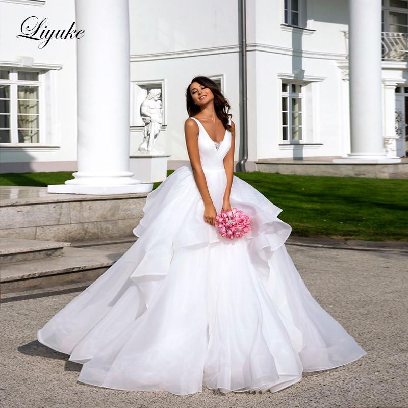 Liyuke Sleeveless A-Line Wedding Dress With Organza And Tulle Fabrics Elegant Natural Waistline  Wedding Gown