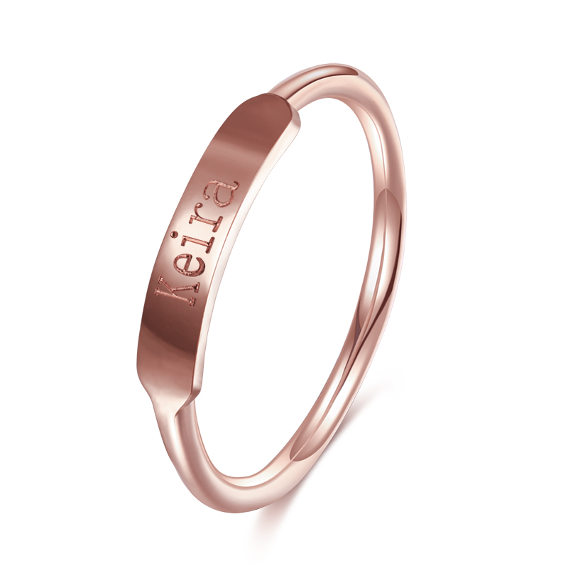 DUOYING Couples Custom Ring Name Engraved Graduation Present Gifts Styles of Simplicity Minimalist Promise Copper Ring