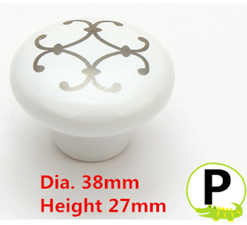 Dia.38mm Height 27mm ceramic knob drawer pulls handle with silver flower print dia 2th album yolo blue dia ver release date 2017 04 27