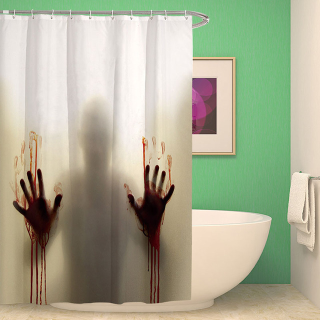 Halloween Horror Bizarre Bloody Shadow Shower Curtain 3D Print Fabric Polyester Hooks Bath Decorations
