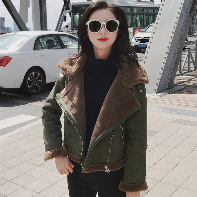 Fashion Winter Faux   Leather   Fur   Suede   Coat Women Turn-Down Collar Short Jacket Casual Motorcycle Biker Warm Outerwear