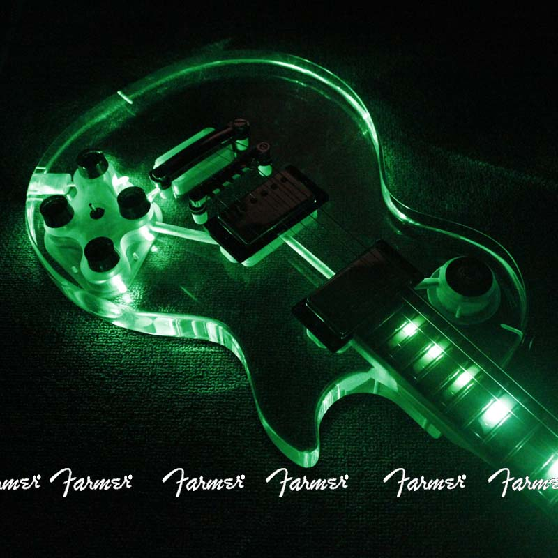 6 string electric guitar acrylic crystal led electric guitar green led lights 22 frets maple. Black Bedroom Furniture Sets. Home Design Ideas