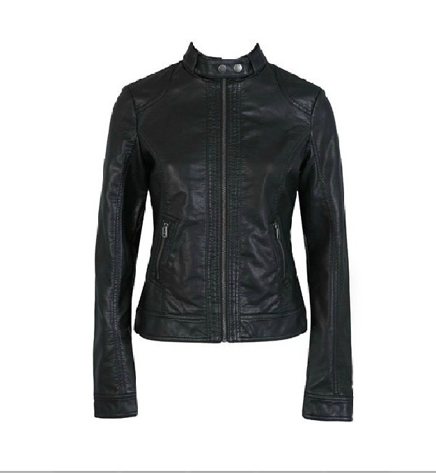 Fashion Women Motorcycle Leather Jacket XS-XXXL 7 Size Short Paragraph Soft Comfortable Water Wash PU Slim Outerwear Coats
