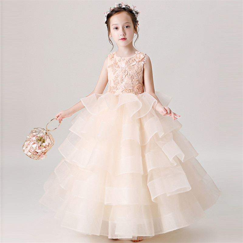 все цены на 2018 New Noble Luxury Children Girls Birthday Wedding Party Embroidery Lace Layers Mesh Dress Model Show Catwalk Evening Dress онлайн