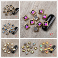 10Pcs/set 3D Nail Decoration Gold Frame Square Round Flower Shape Nail Art Manicure Decoration