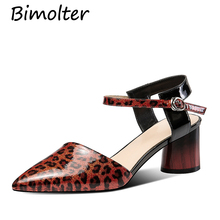Bimolter Heels Women Pumps Two Piece Thick Ladies Party Shoes Genuine Leather Ankle Strap Footwear Zapatos Mujer NC089