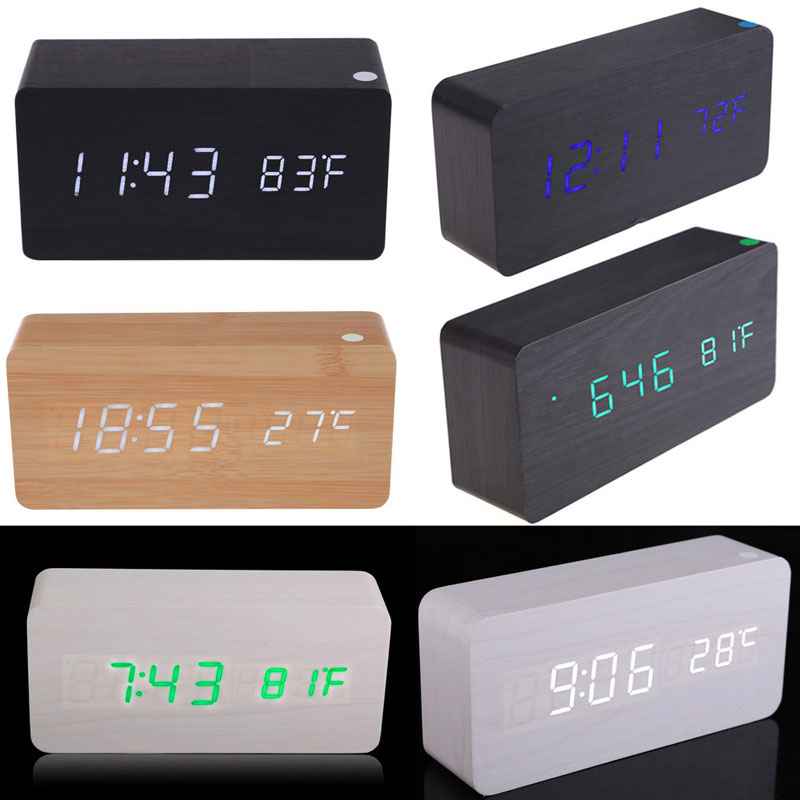 Rectangle Wooden Digital Alarm Clock Calendar Thermometer for Home Office Home Decor Vintage Table Clocks Digital Alarm Clock