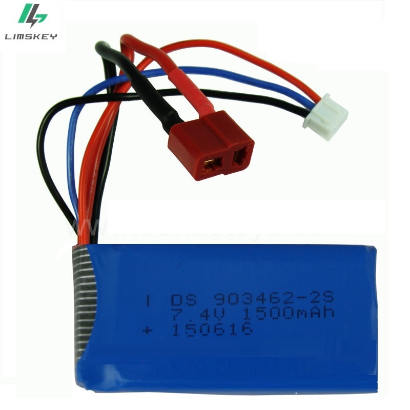 7.4V 1500mAh 903462-2s Lipo battery For FT009 FX067C Remote controlboat speedboat battery Lipo 2S 7.4V 1500mah (blue) T/EL Plug стоимость