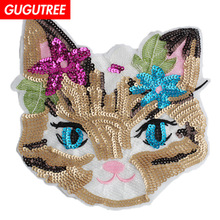 GUGUTREE embroidery paillette big cats patches sequin animal badges applique for clothing