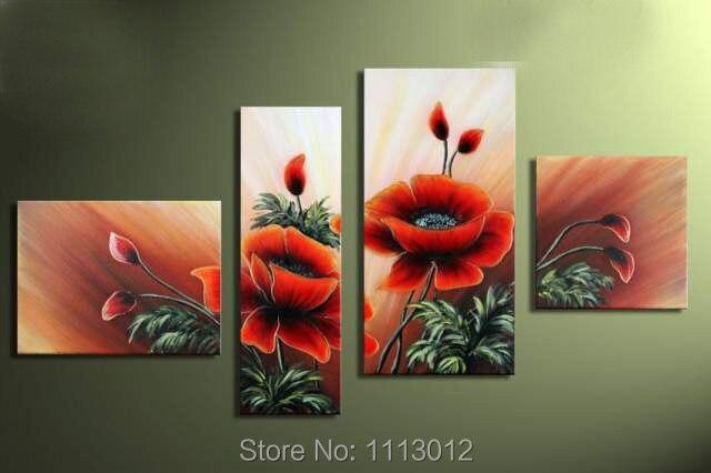 Лидер продаж 100% ручная роспись красные цветы маслом на холсте 4 шт. Наборы для ухода за кожей Аннотация домой современного стены Книги по иск...
