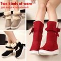 Las Mujeres de color rojo Botas de Mujer Zapatos de Nieve Zapatos de Invierno de Las Mujeres Zapatos de Plataforma de la Felpa Cómodo Tobillo Caliente Botas de Mujer Negro