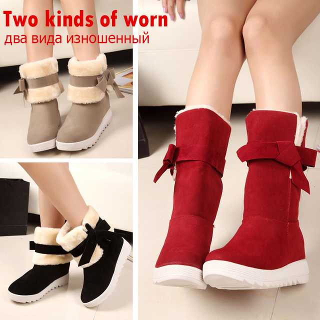 Mulheres vermelhas Sapatos Botas Mulher Neve Sapatos Botas do Tornozelo da Plataforma Das Mulheres Sapatos de Inverno de Pelúcia Quente E Confortável Botas Mujer Preto