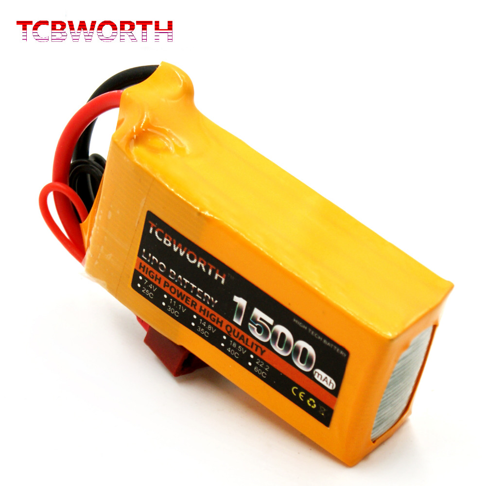 TCBWORTH RC Drone <font><b>LiPo</b></font> battery <font><b>4S</b></font> 14.8V <font><b>1500mAh</b></font> 35C Max 70C For RC Helicopter Airplane Quadrotor Car RC Li-ion battery image