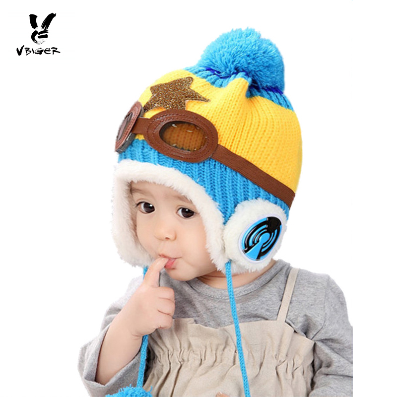 VBIGER Children Winter Beanies Skullies Knitted Warm Hat Cap Kids Thick Cartoon Pilot Hat for Boy Girl the new children s cubs hat qiu dong with cartoon animals knitting wool cap and pile