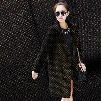 Free shipping new black gold plaid wool fabric winter coat it coat clothing fabrics special