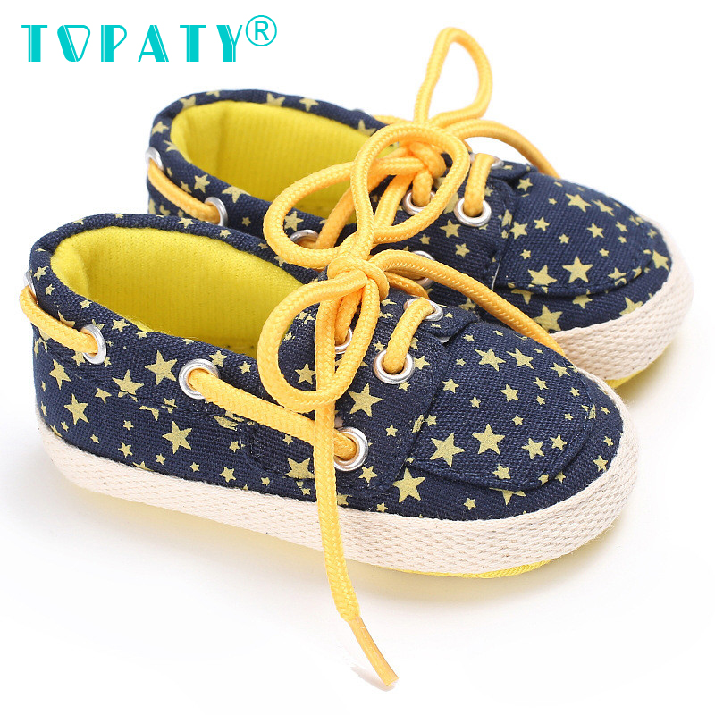 TOPATY Lace-UP Sneakers Brand New Baby Boys Girls Star Pattern Toddler Shoes Indoor Zapatos Infant First Walkers Sapatos De Bebe