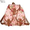 Mara's Dream Fashion Style Women Girl Backpack Canvas Rucksack Flower Backpack School Book Shoulder Bag Flap Pocket Backpack