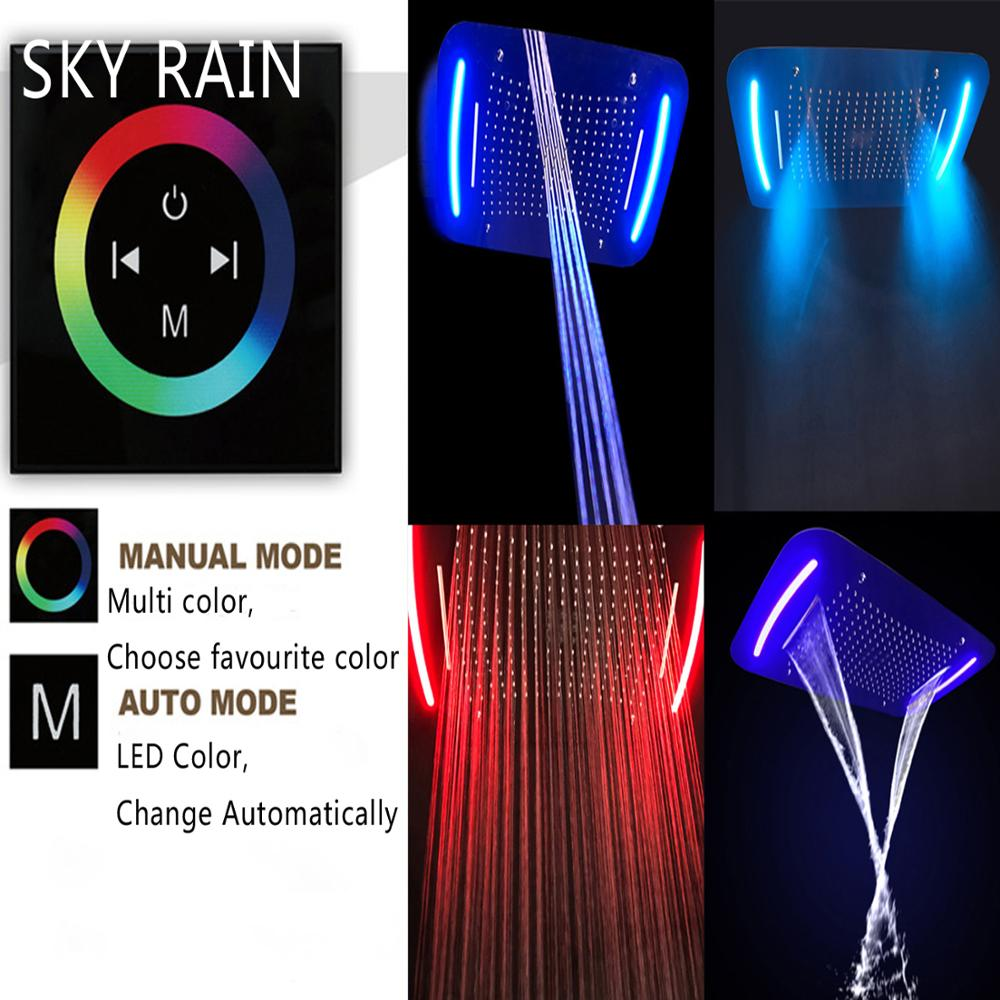 SKY RAIN Bathroom Thermostatic Shower System Luxury SPA Misty Waterfall Rainfall LED Shower Heads Set in Shower System from Home Improvement