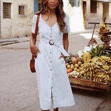 DeRuiLaDy 2019 Summer Women Short Sleeve Striped Dress Sexy V Neck Button Yellow Midi Streetwear Dresses Casual Holiday Dress