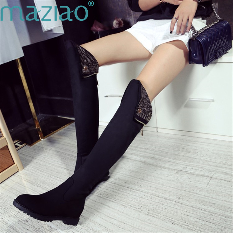Ladies Shoe Suede Round Head Increase Inside Simple Style Women High Boots Over The Knee Boots MAZIAO