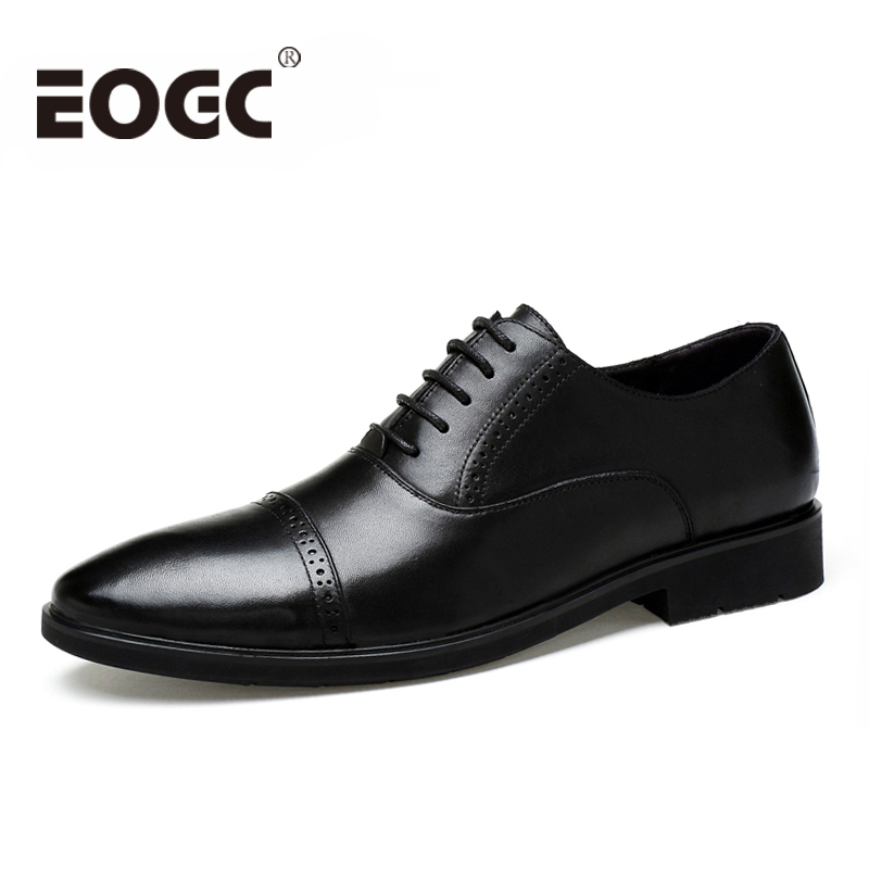 Size 37~45 Genuine Leather men flats Pointed Toe Men Oxfords shoes Business Wedding Dress Shoes High quality Bullock men shoes