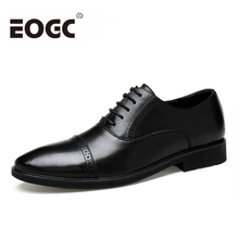 Size 37~45 Genuine Leather men flats Pointed Toe Men Oxfords shoes Business Wedding Dress Shoes High quality Bullock