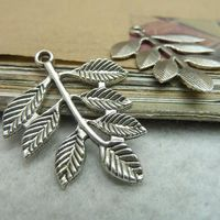 Free Shipping Wholesale 150Pcs/Lot Antique Bronze/Silver Vintage Leaf Alloy Charms Pendant Jewelry Findings 28*34MM 7173
