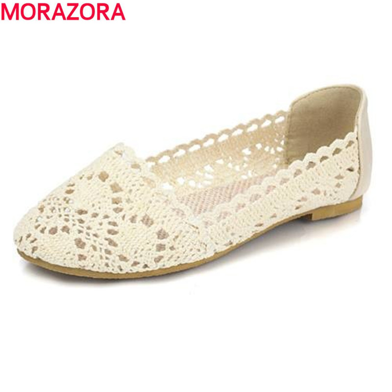 MORAZORA 2017 new women ballet flats Fashion cut outs flat shoes sweet hollow summer female shoes