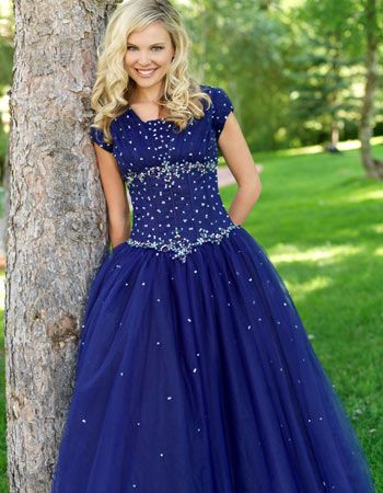 2019 Royal Blue A-line Modest   Prom     Dresses   With Cap Sleeves Beaded Crystals Floor Length Corset Seniors Formal   Prom   Party Gowns