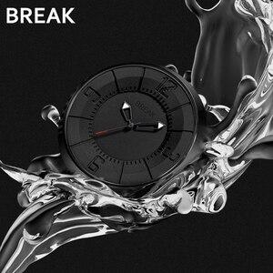 Image 2 - BREAK minimalista Reloj de marca de lujo para hombre y mujer, resistente al agua, de cuarzo, informal, militar, deportivo, negro