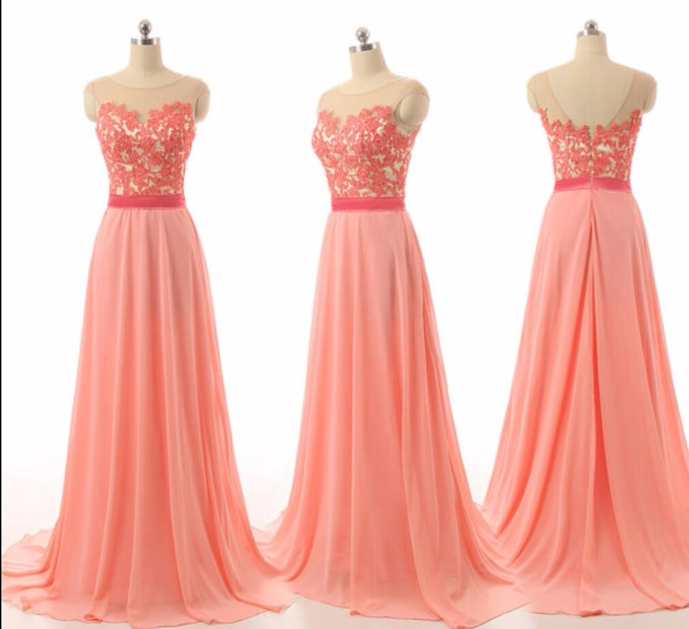 Cheap Coral Long Chiffon Lace Bridesmaid Dresses 2016 Rustic Maid Of Honor Formal Beach Wedding Party Elegant In From