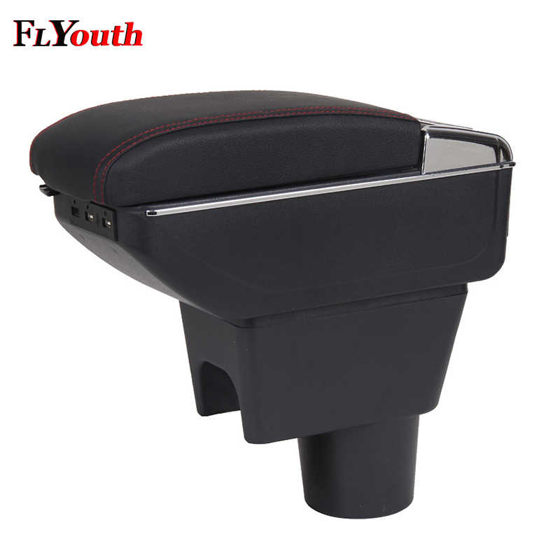 For Renault Duster 2010-2018 Car Armrest Box USB Charging Heighten Double Layer Central Store Content Box Cup Holder Ashtray