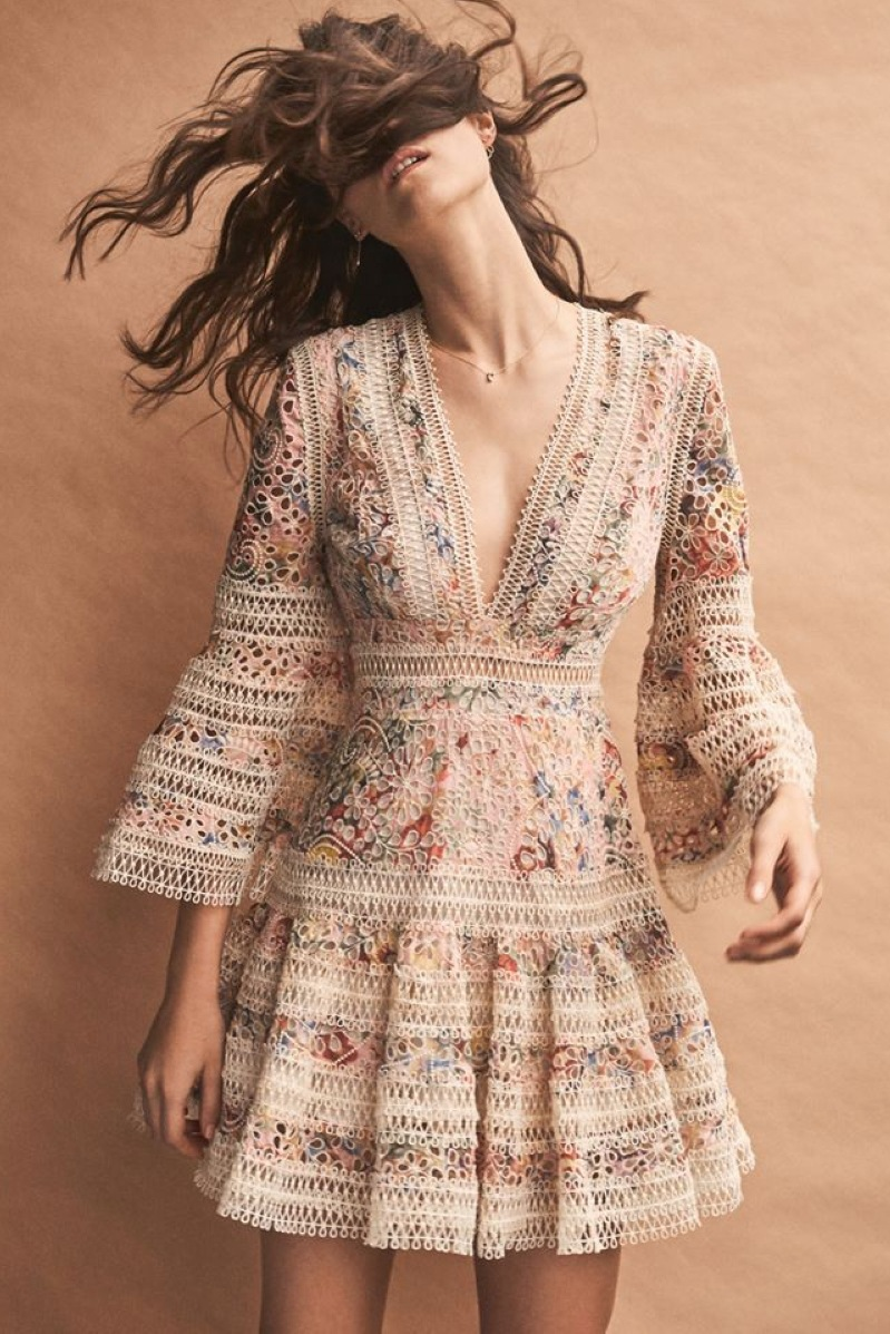TANG New High Quality Embroidery Summer Dress 2019 Vintage Hollow Out Mini Dress Slim High Waist Flare Sleeve Dresses (2)
