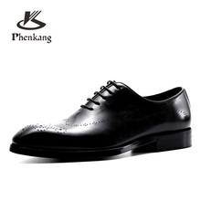 Men's natrual leather business dress suit shoes men brand Bullock genuine leather black lace up wedding shoes Phenkang