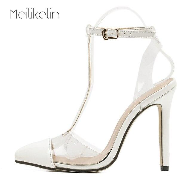 8041b43a27a844 Meilikelin Women White Wedding Shoes High Heels Bridal Sandals T-strap  Buckle Sandalia Girls Nightclub